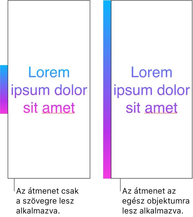 Egymás melletti példák Az első példán egy szöveg látható, ahol az átmenet kizárólag a szövegen került alkalmazásra úgy, hogy a teljes színspektrum megjelenjen a szövegen. Az második példán egy szöveg látható, ahol az átmenet a teljes objektumok került alkalmazásra, így a szövegen csak a teljes színspektrum egy része jelenik meg.