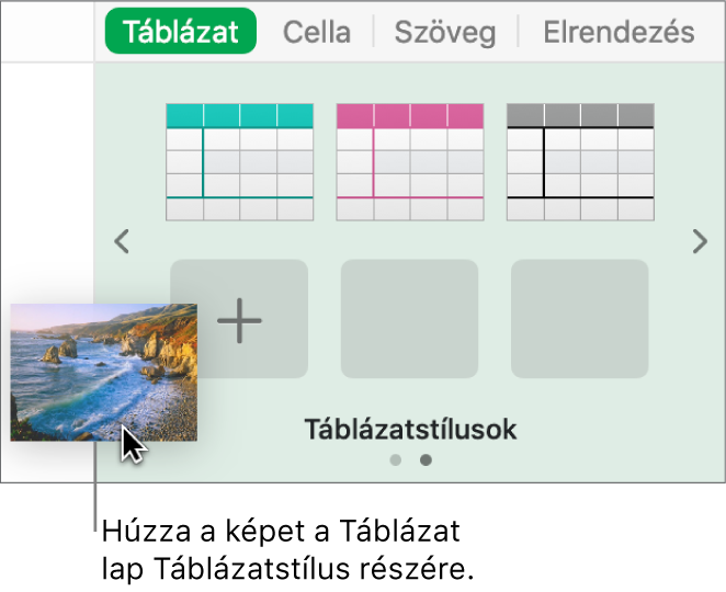 Új stílus létrehozása egy kép táblázatstílusokhoz történő húzásával.