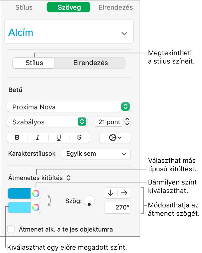 Szöveg oldalsáv, amelyen a szöveg színének módosítása látható.
