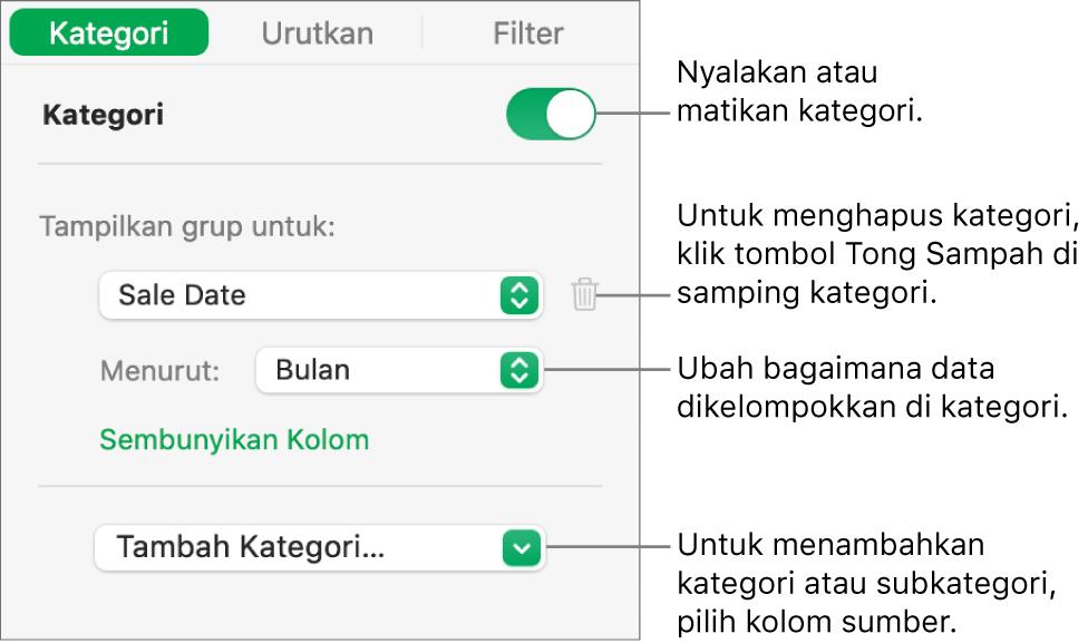 Bar samping kategori dengan pilihan untuk mematikan kategori, menghapus kategori, mengelompokkan ulang data, menyembunyikan kolom sumber, dan menambah kategori.