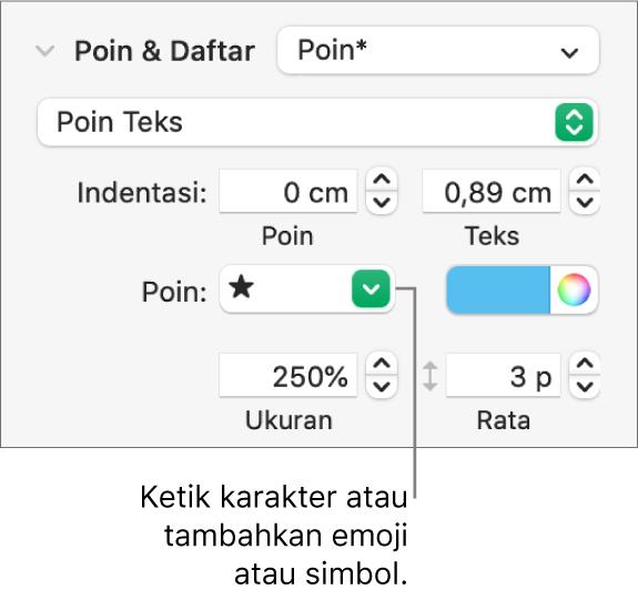 Bagian Poin & Daftar pada bar samping Format. Bidang Poin menampilkan emoji bintang.