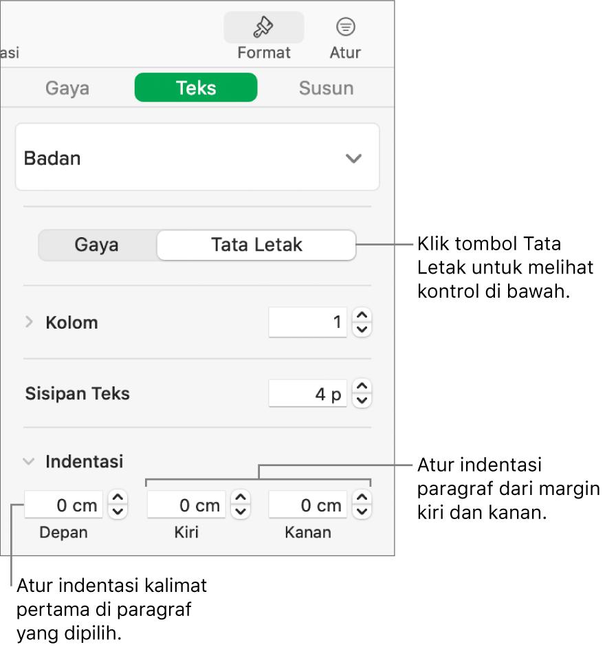 Bagian Tata Letak pada bar samping Format menampilkan kontrol untuk mengatur indentasi baris pertama dan margin paragraf.