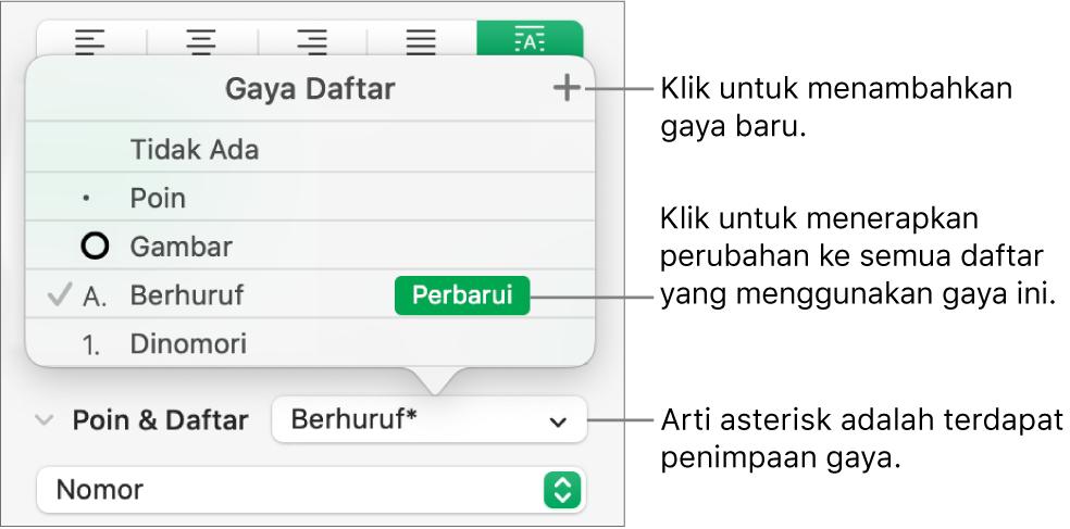 Menu pop-up Gaya Daftar dengan asterisk yang menunjukkan penimpaan dan keterangan pada tombol Gaya Baru, dan submenu pilihan untuk mengelola gaya.