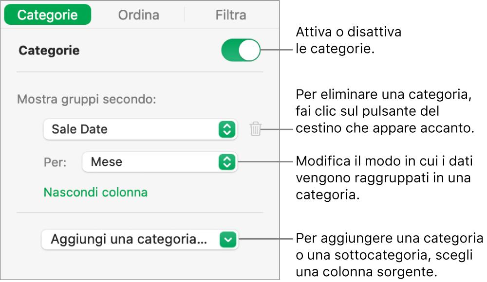La barra laterale delle categorie con opzioni per disattivare le categorie, eliminare le categorie, raggruppare i dati, nascondere una colonna sorgente e aggiungere le categorie.
