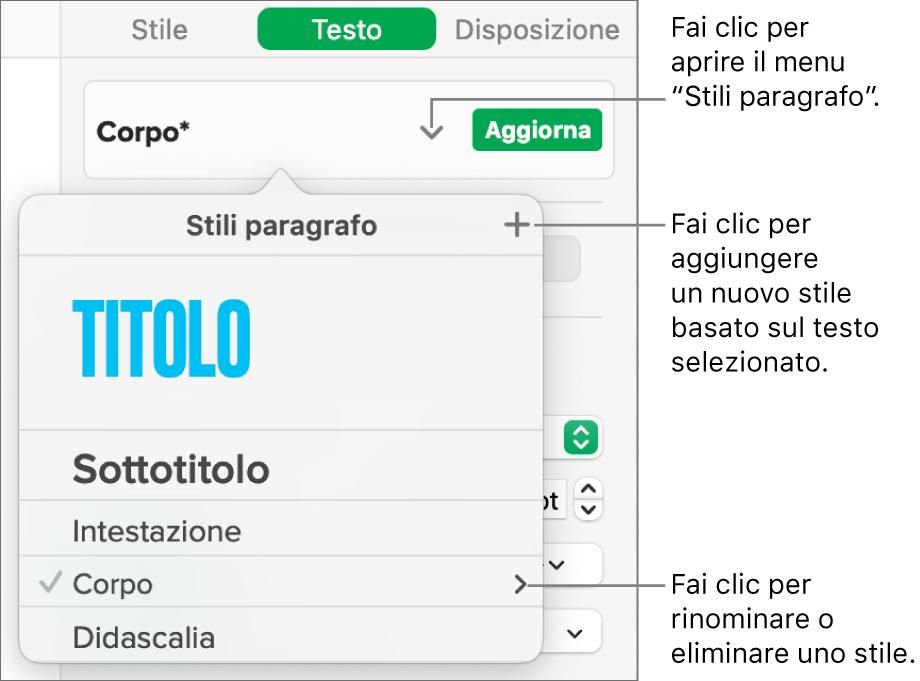 """Menu """"Stili paragrafo"""" con i controlli per aggiungere o modificare uno stile."""