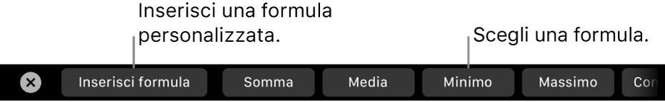 Touch Bar di MacBook Pro con i controlli per inserire le tue formule e per sceglierne una comunemente utilizzata.