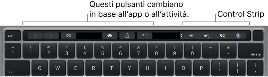 Una tastiera con Touch Bar sopra i tasti numerici. A sinistra e al centro ci sono pulsanti per modificare il testo. Control Strip, sulla destra, include controlli di sistema per la luminosità, il volume e Siri.