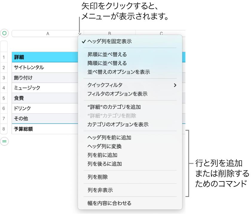 行や列を追加または削除するためのコマンドが表示された表の列のメニュー。