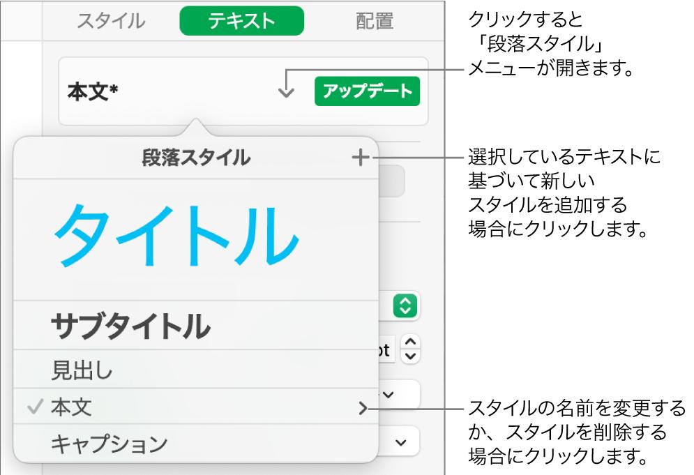 「段落スタイル」メニュー。スタイルを追加または変更するためのコントロールが表示された状態。