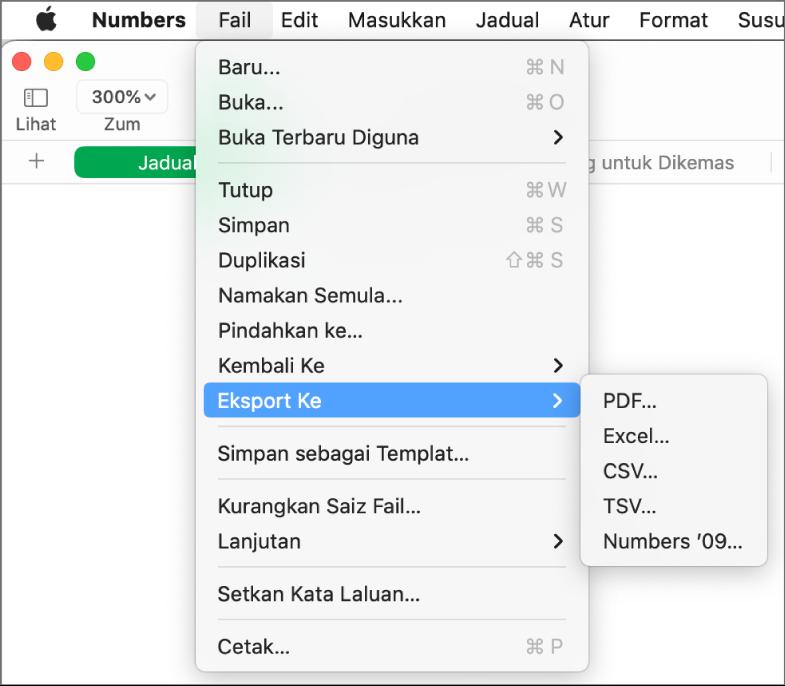 Menu Fail terbuka dengan Eksport Ke dipilih, dengan submenu menunjukkan pilihan eksport untuk PDF, Excel, CSV dan Numbers '09.