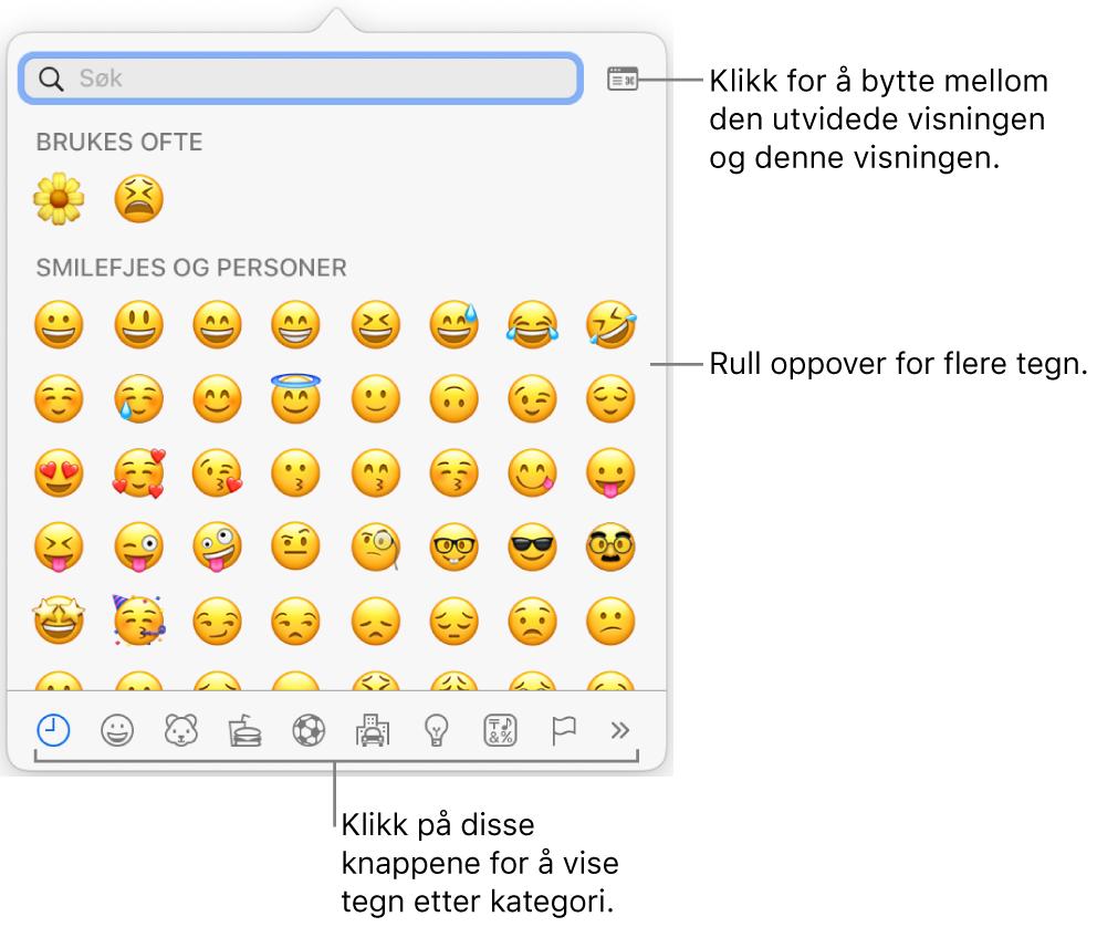 Spesialtegn-lokalmenyen, som viser uttrykkssymboler, knapper for forskjellige typer symboler nederst og en bildeforklaring for en knapp for å vise hele Tegn-vinduet.