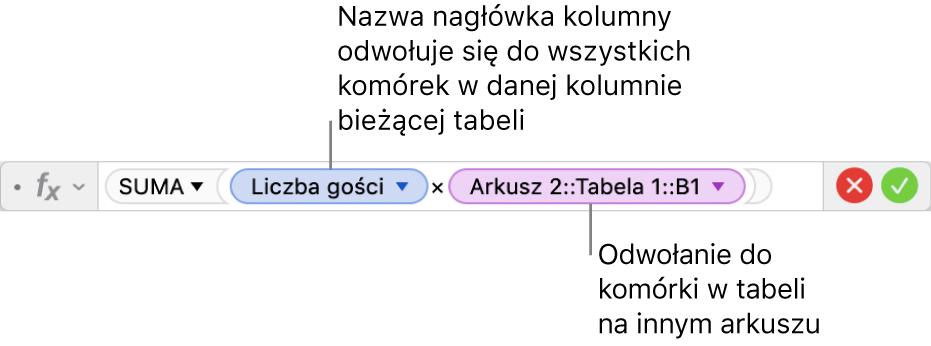Edytor formuł zformułą odwołującą się do kolumny wjednej tabeli ido komórki winnej tabeli.