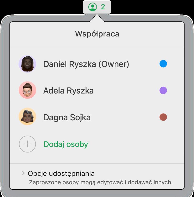 Menu współpracy zawierające nazwiska osób wspólnie pracujących nad arkuszem kalkulacyjnym. Poniżej widoczne są opcje udostępniania.