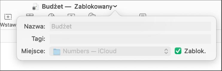 Menu podręczne blokowania iodblokowywania arkusza kalkulacyjnego.