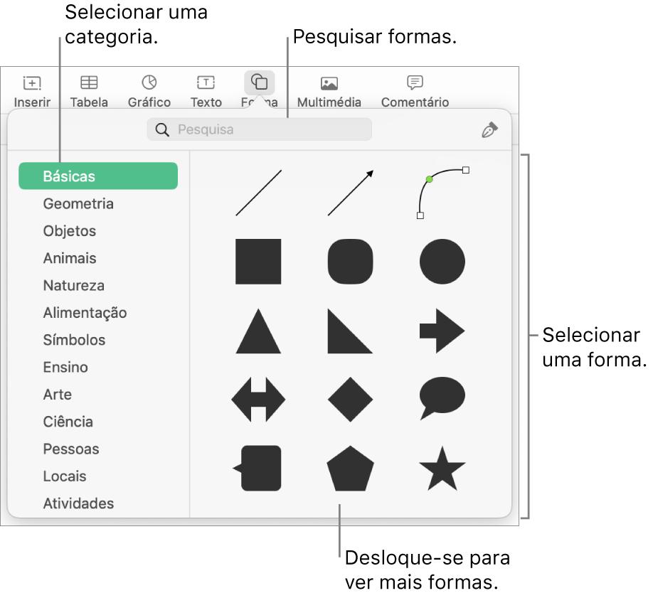 A biblioteca de formas, com as categorias listadas à esquerda e as formas exibidas na parte superior à direita. É possível usar o campo de pesquisa na parte superior para encontrar formas e deslocar-se para ver mais.