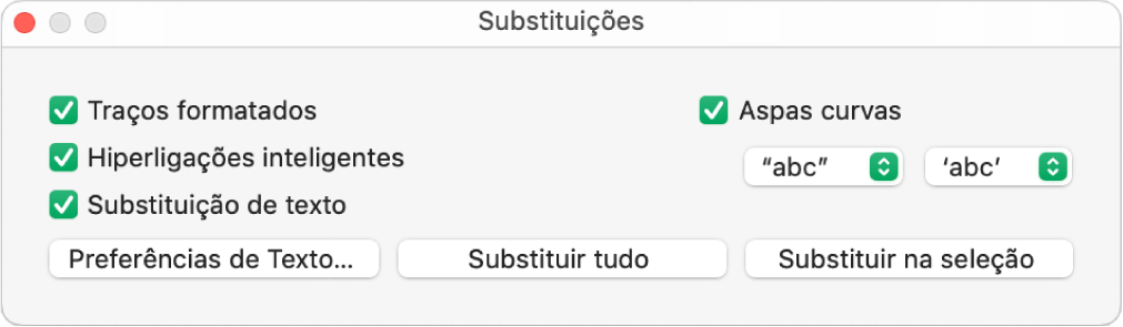 Janela Substituições.