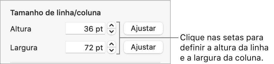 Os controlos para definir um tamanho exato de linha ou coluna.