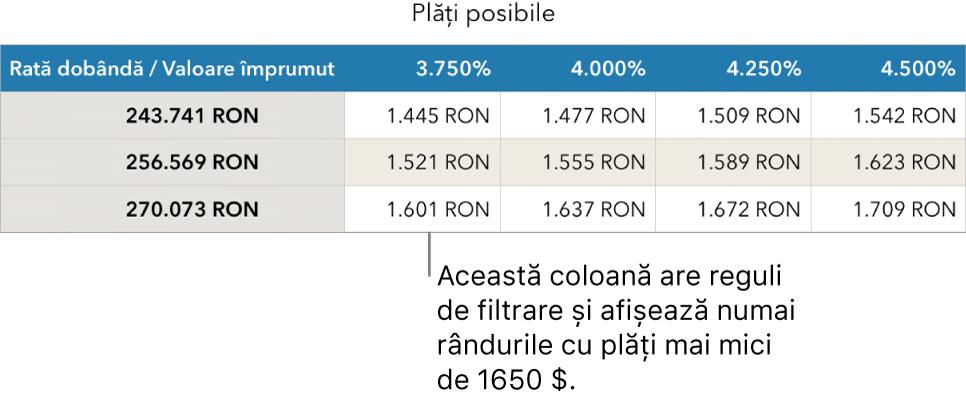 Un tabel care afișează ipoteca după filtrarea în funcție de ratele de dobândă pe care vi le permiteți.