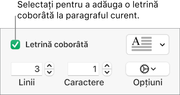Caseta de validare Letrină coborâtă este selectată și un meniu pop-up apare în dreapta acesteia; comenzile pentru configurarea înălțimii liniei, a numărului de caractere și alte opțiuni apar sub aceasta.