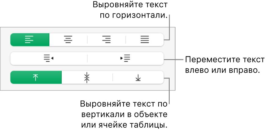 Раздел «Выравнивание» с кнопками для выравнивания текста по горизонтали, для перемещения текста влево или вправо и для выравнивания текста по вертикали.