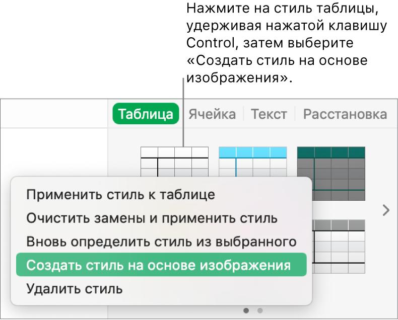 Контекстное меню стиля таблицы.