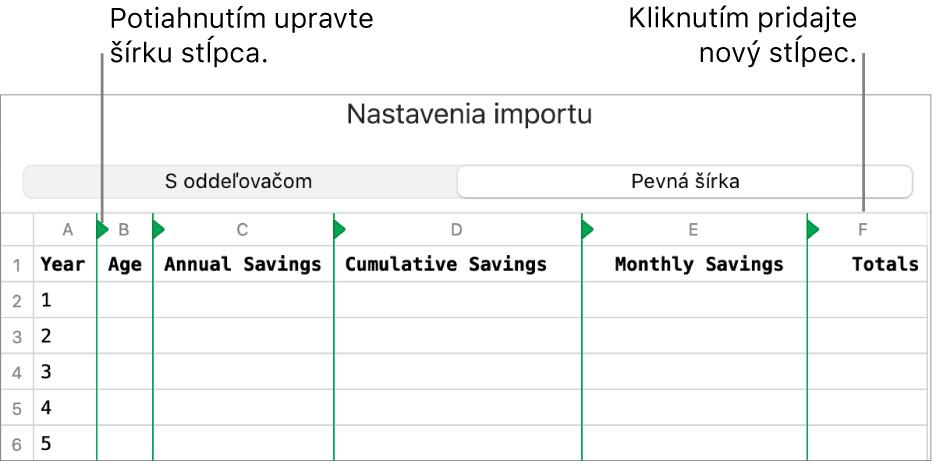 Nastavenia importu pre textový súbor sfixnou šírkou.