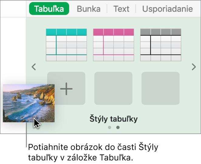 Vytvorenie nového štýlu potiahnutím obrázka na štýly tabuľky.