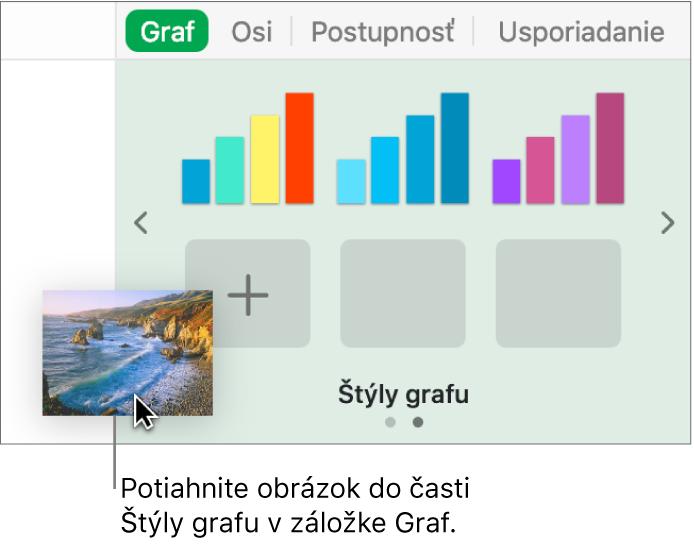 Vytvorenie nového štýlu potiahnutím obrázka do časti bočného panela štýlov grafu.