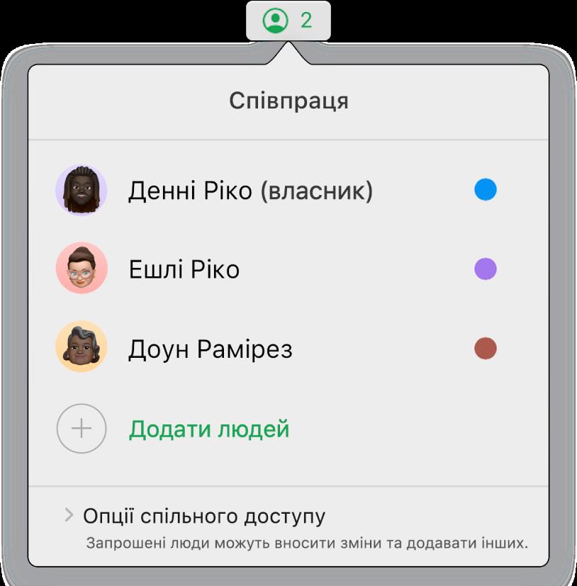 Меню «Співпраця» з іменами людей, які спільно працюють над електронною таблицею. Опції спільного доступу відображаються під іменами.