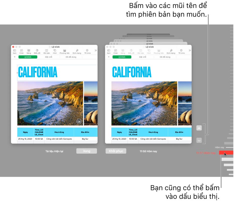 Cửa sổ Khôi phục hiển thị các phiên bản bạn có thể duyệt.