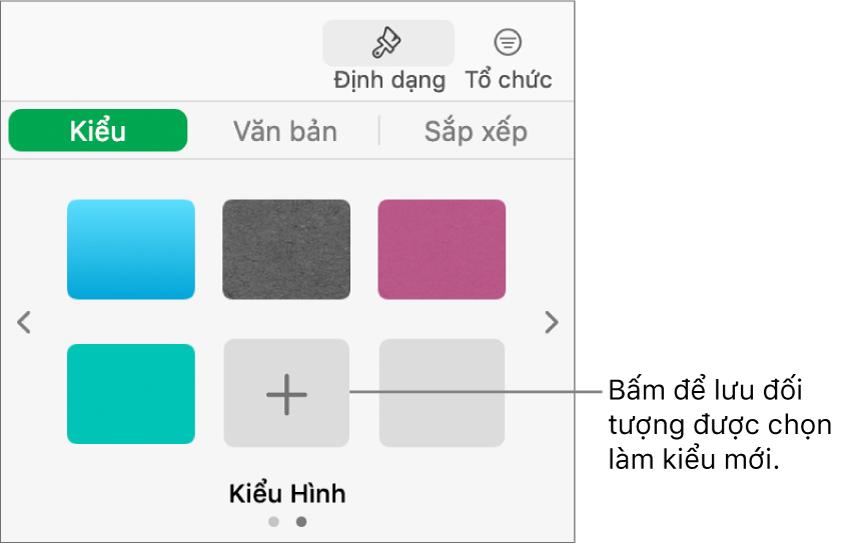 Tab Kiểu của thanh bên Định dạng với bốn kiểu hình ảnh, một nút Tạo kiểu và một trình giữ chỗ kiểu trống.