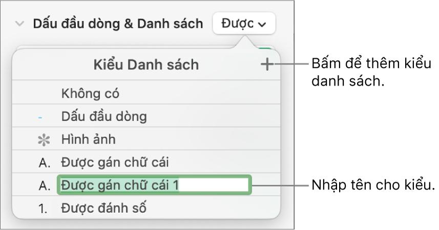 Menu bật lên Kiểu danh sách có nút Thêm ở góc trên cùng bên phải và tên kiểu giữ chỗ với văn bản được chọn.