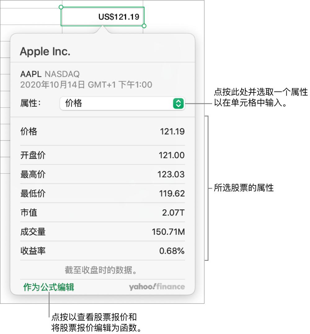 用于输入股票属性信息的对话框,Apple 为选定的股票。