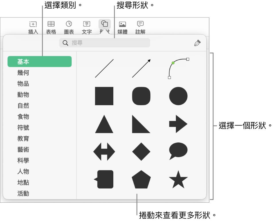 形狀資料庫,左側列出類別,右側顯示形狀。你可以使用最上方的搜尋欄位來尋找形狀,並捲動來查看更多。