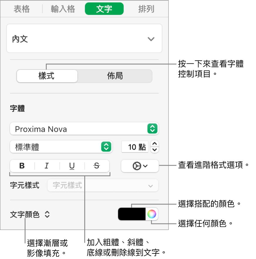設定表格文字樣式的控制項目。