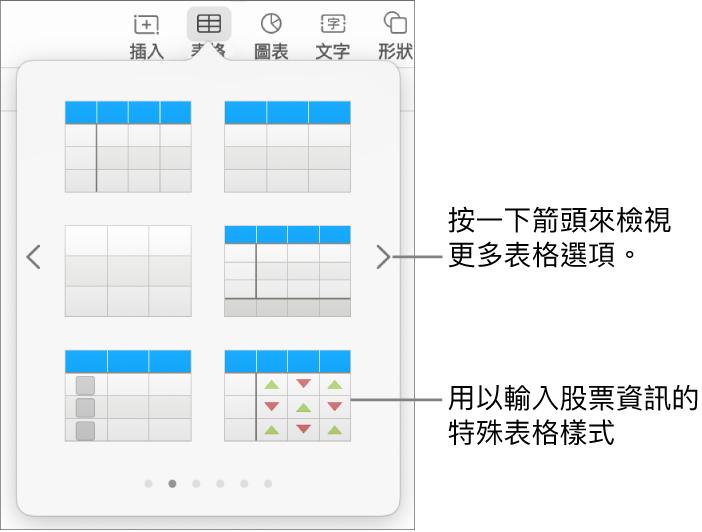 表格選單顯示表格樣式的縮覽圖,右下角是用於輸入股票資訊的特殊樣式。底部的六個圓點表示您可以滑動來查看更多樣式。