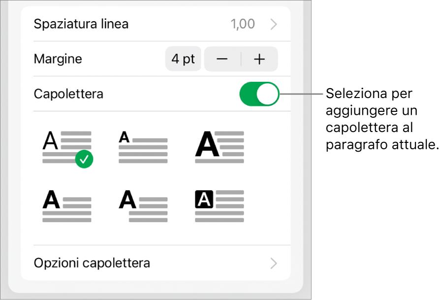 I controlli Capolettera situati nella parte inferiore del menu Testo.