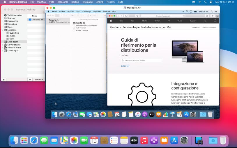 Puoi visualizzare diversi schermi e controllarli uno alla volta.