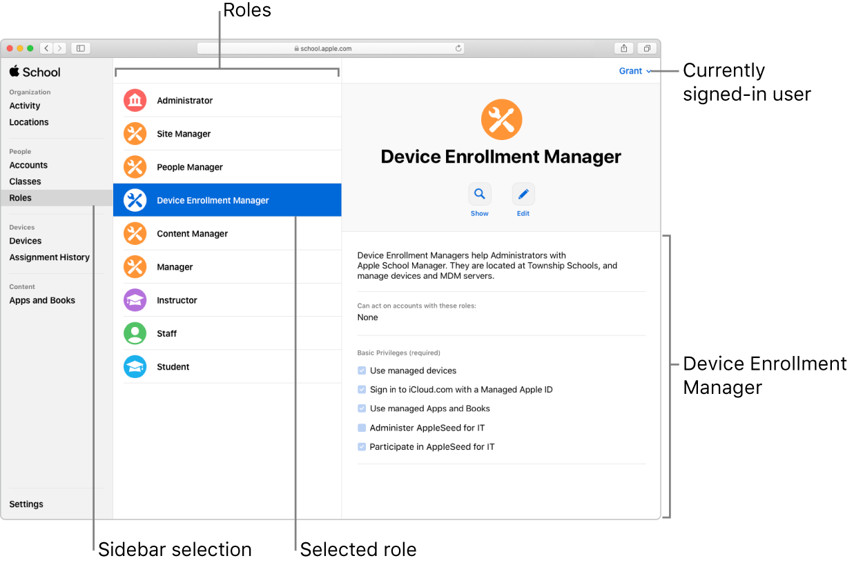 The Roles window in Apple School Manager. A selected role opens to a description of that role's privileges for the user who is signed in.