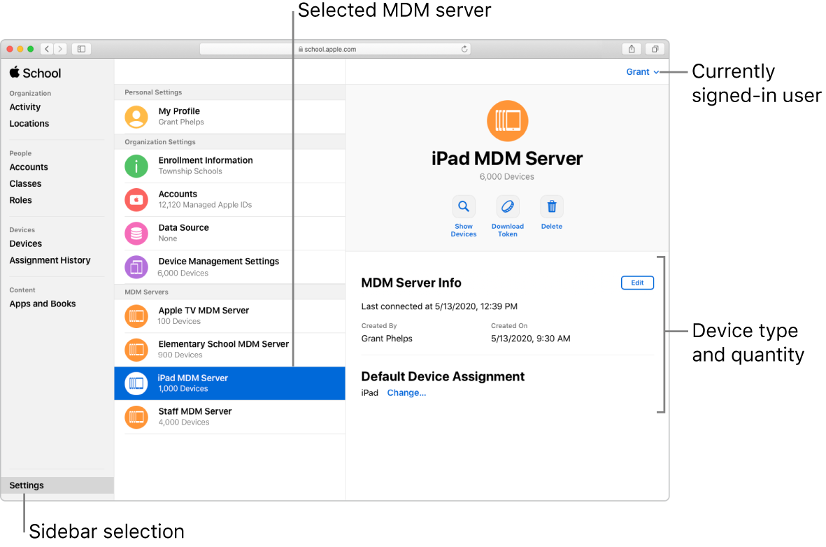 AppleSchoolManager 視窗,顯示在側邊欄中選取的「設定」。選取的伺服器會隨即打開,顯示與該伺服器相關的資訊。