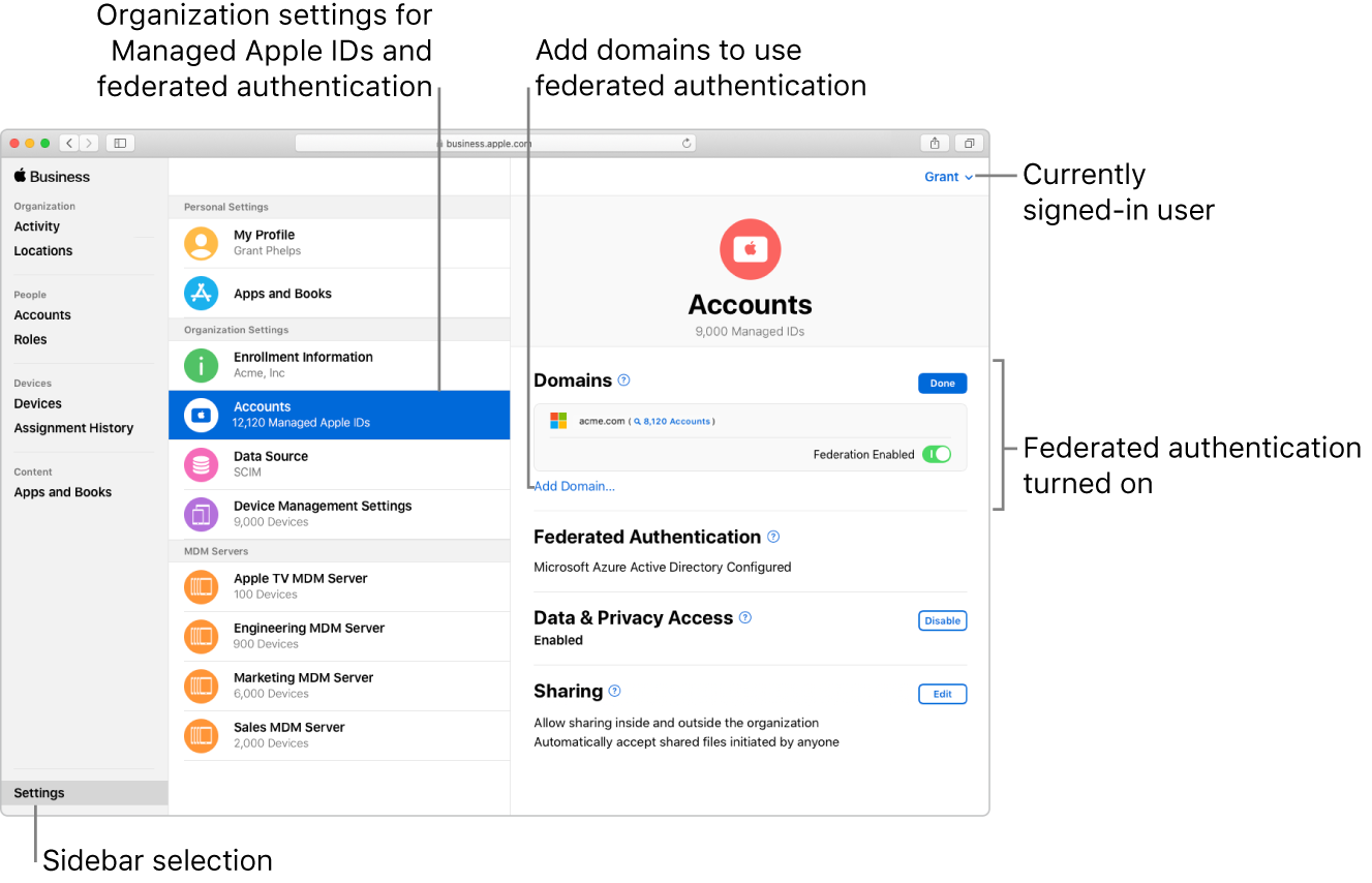 The Apple Business Manager window with Settings selected in the sidebar. The Accounts pane shows a signed-in user with federated authentication turned on.
