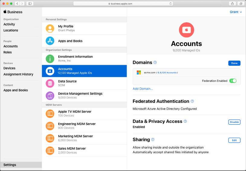 Die Verbindung zu AppleBusinessManager mithilfe der verknüpften Authentifizierung.