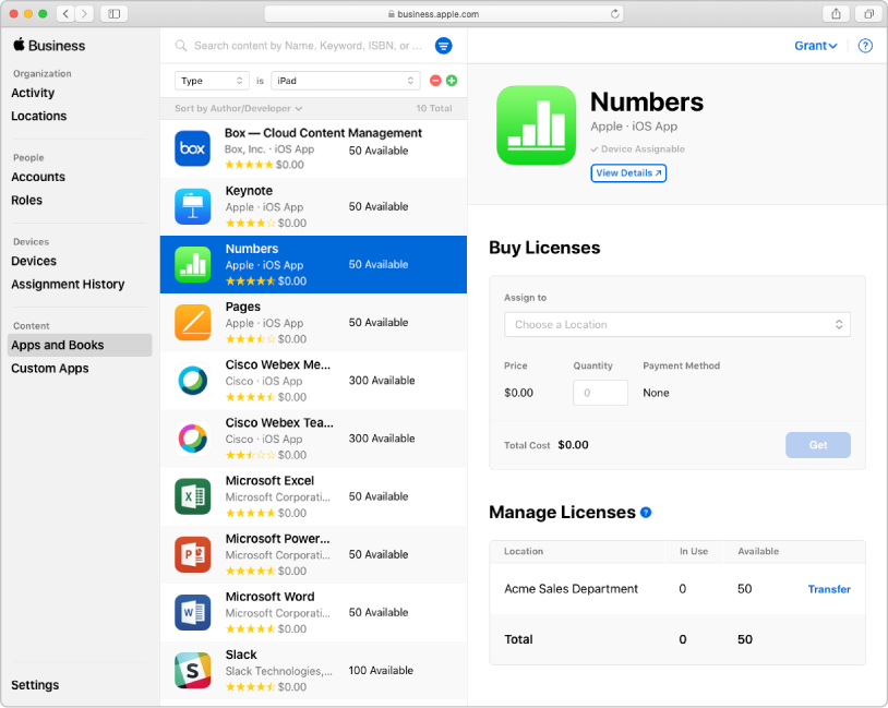 The Apple Business Manager window showing Apps and Books selected in the sidebar under Content. The pane selected is for buying and managing licenses for the Numbers app.
