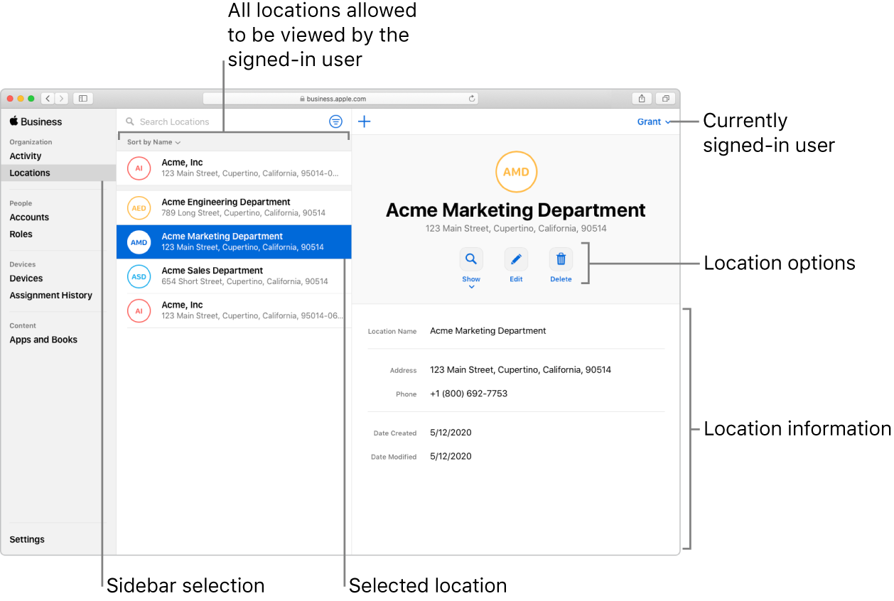 The Locations window in Apple Business Manager, showing location options and location information for a selected organization.