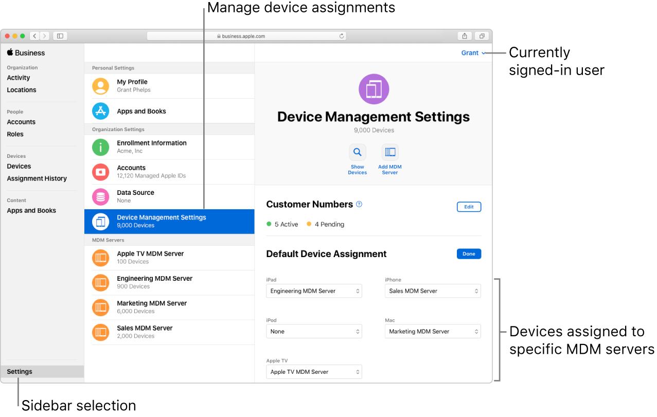 Apple Business Managerウインドウのサイドバーで「設定」が選択されています。「デバイス管理」の組織の設定が選択されており、デフォルトのデバイスの割り当てを設定するパネルが開いています。