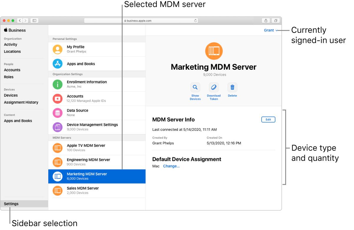 Het AppleBusinessManager-venster met 'Instellingen' geselecteerd in de navigatiekolom. Een geselecteerde server opent naar informatie over die server.