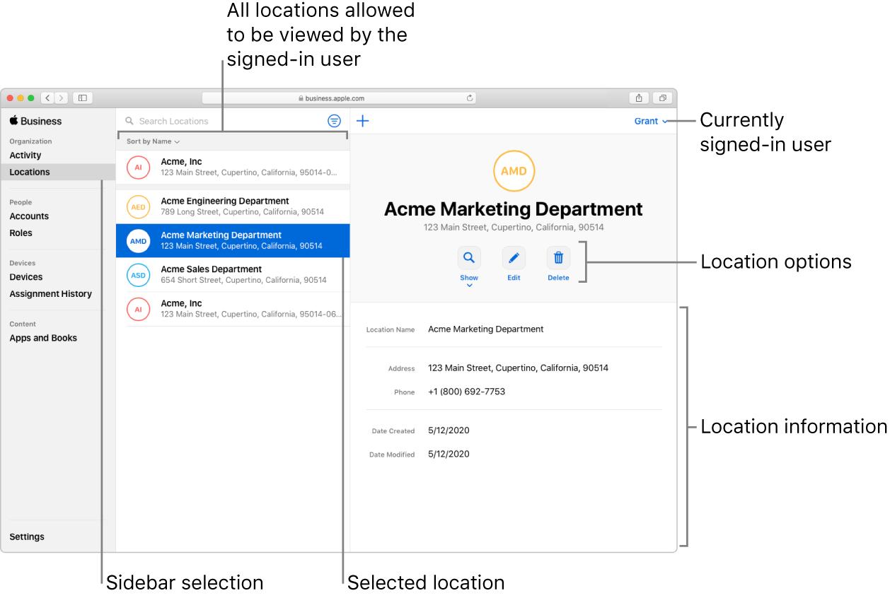 Het venster 'Locaties' in AppleBusinessManager met locatiemogelijkheden en locatiegegevens voor een geselecteerde organisatie.