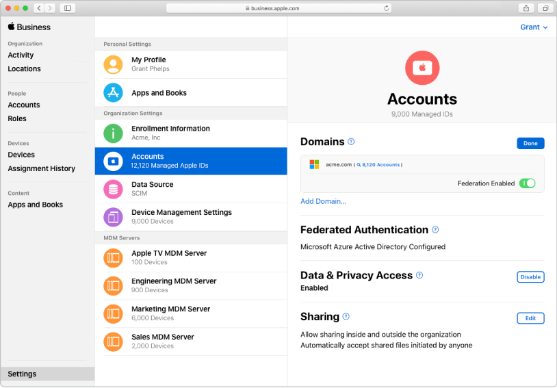 AppleBusinessManager-tilkobling med forent autentisering.