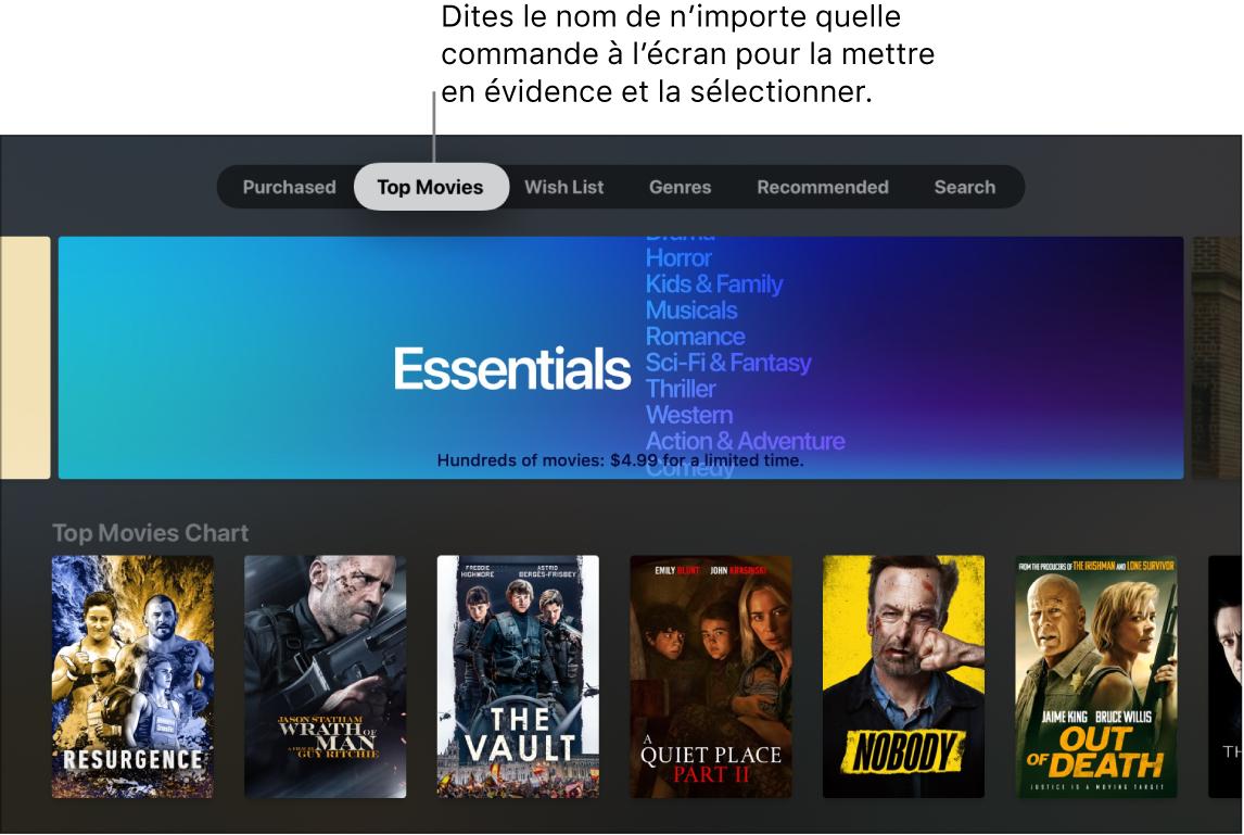 Section Films de l'iTunesStore avec les requêtes de menu pouvant être énoncées