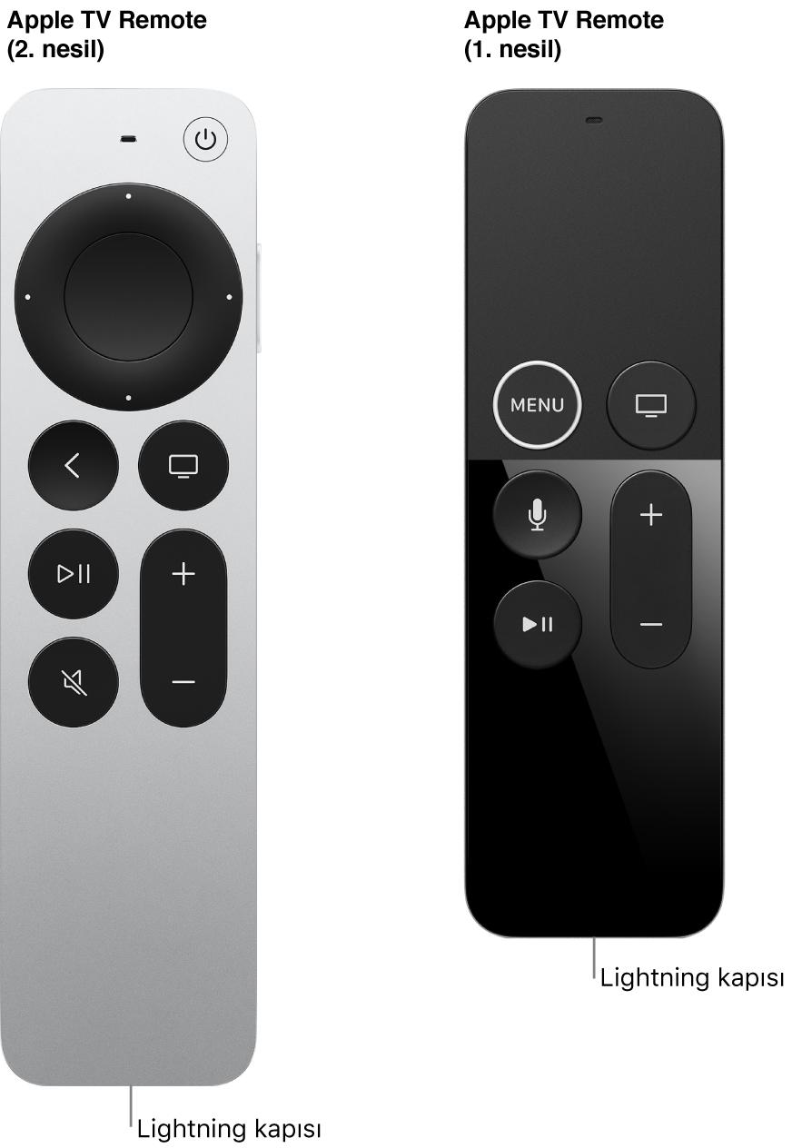 Lightning kapısını gösteren Apple TV Remote (2. nesil) ve Apple TV Remote (1. nesil) resmi